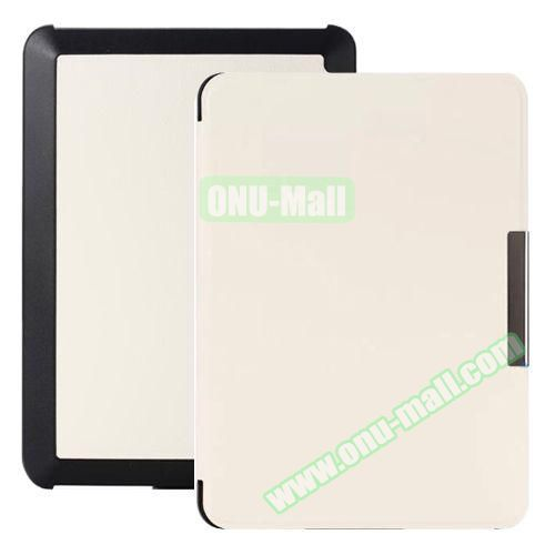 Snowflake Texture Side Flip Leather Case for New Kindle (White)