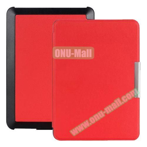 Snowflake Texture Side Flip Leather Case for New Kindle (Red)