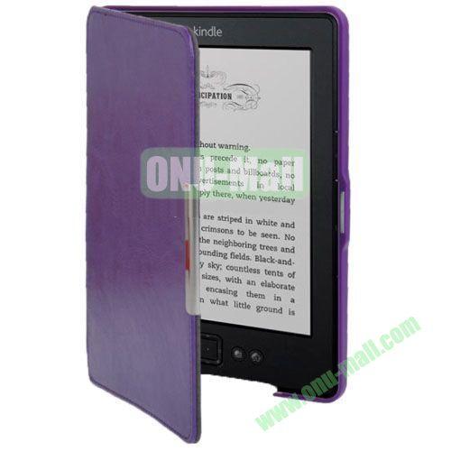 Crazy Horse Texture Leather Case for Amazon Kindle 5 (Purple)
