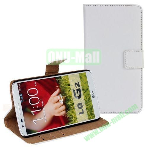 High-quality Genuine Leather Case with Card Slots and Holder for LG G2  D802 (White)