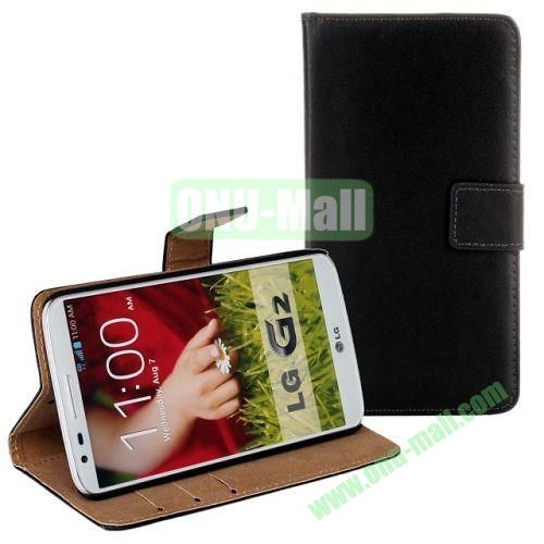 High-quality Genuine Leather Case with Card Slots and Holder for LG G2  D802 (Black)