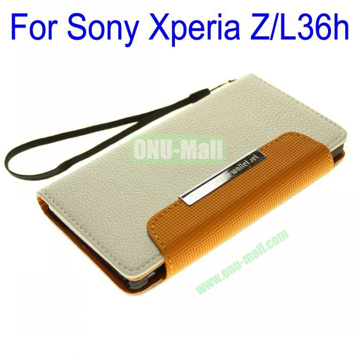 Wallet Style Litchi Lines Leather Case Cover for Sony Xperia ZL36h With Card Slots and a Sling (White)