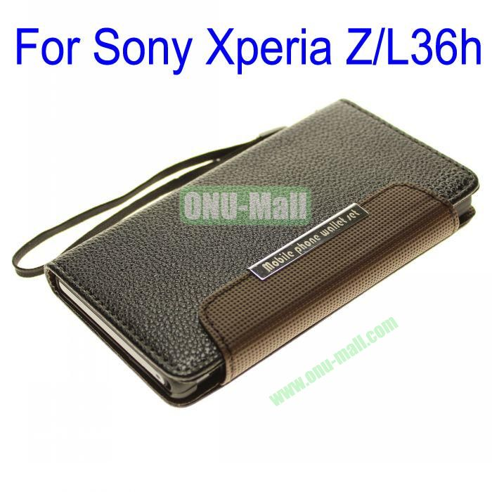Wallet Style Litchi Lines Leather Case Cover for Sony Xperia ZL36h With Card Slots and a Sling (Black)