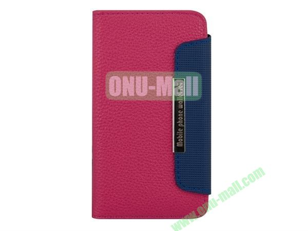 Wallet Style Litchi Lines Leather Case Cover for Sony Xperia ZL36h With Card Slots(Rose)