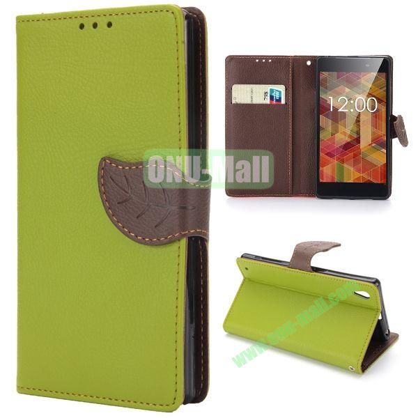Lichee Texture Magnetic Buckle Design Wallet Style Flip Stand TPU+PU Leather Case for Sony L39h Xperia Z1 with Strap (Green)