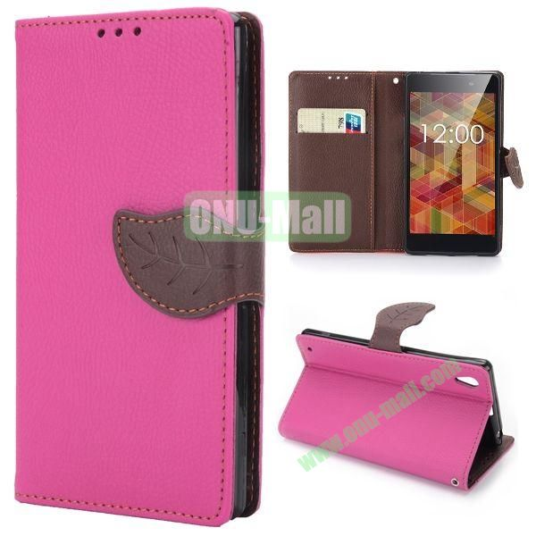 Lichee Texture Magnetic Buckle Design Wallet Style Flip Stand TPU+PU Leather Case for Sony L39h Xperia Z1 with Strap (Rose)