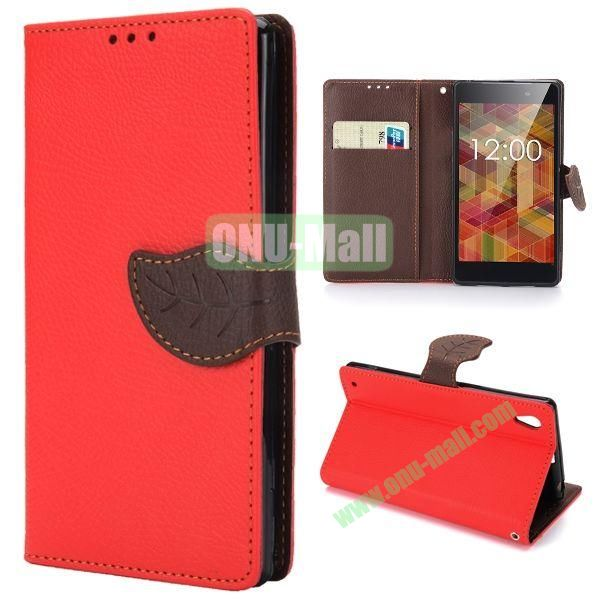 Lichee Texture Magnetic Buckle Design Wallet Style Flip Stand TPU+PU Leather Case for Sony L39h Xperia Z1 with Strap (Red)