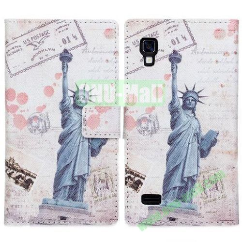 Statue of Liberty Pattern Leather Case for LG Optimus L9P760 with Card Slots & Holder