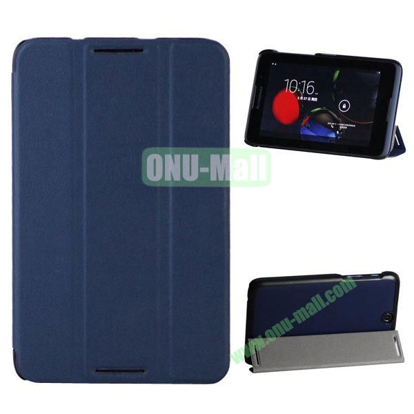 3-folding Crazy Horse Texture Leather Case for Lenovo A3500 (Dark Blue)