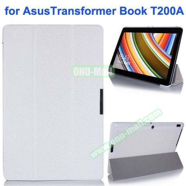Silk Texture Ultra-slim Flip Leather Case for Asus Transformer Book T200A (White)