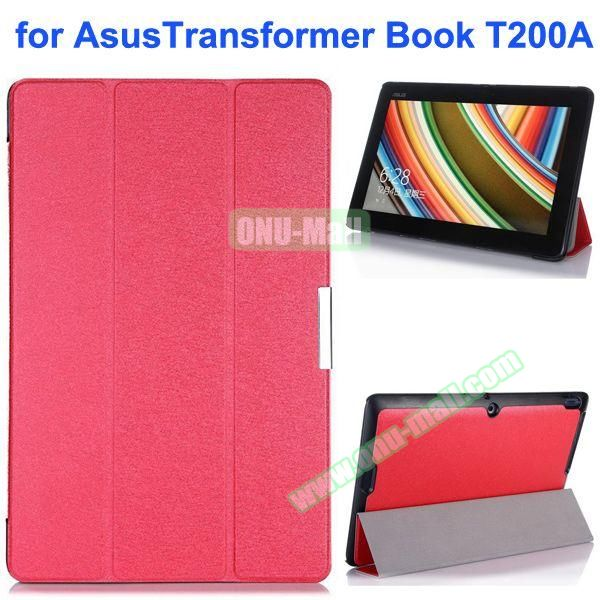 Silk Texture Ultra-slim Flip Leather Case for Asus Transformer Book T200A (Pink)