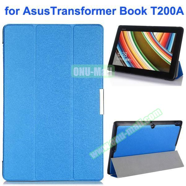 Silk Texture Ultra-slim Flip Leather Case for Asus Transformer Book T200A (Blue)