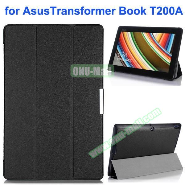 Silk Texture Ultra-slim Flip Leather Case for Asus Transformer Book T200A (Black)