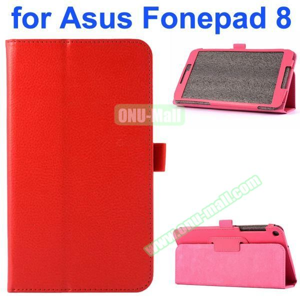 Litchi Texture Flip Leather Case for Asus Fonepad 8 FE380CG (Red)
