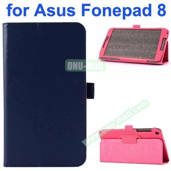 Litchi Texture Flip Leather Case for Asus Fonepad 8 FE380CG (Dark Blue)