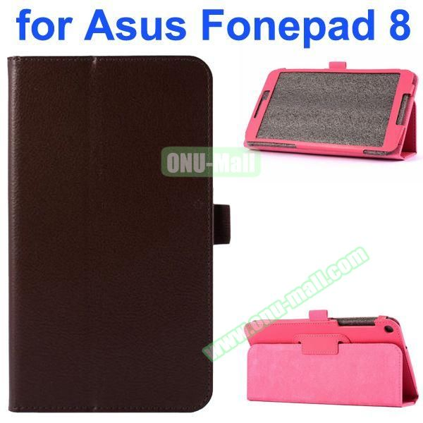Litchi Texture Flip Leather Case for Asus Fonepad 8 FE380CG (Brown)