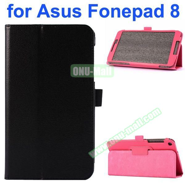 Litchi Texture Flip Leather Case for Asus Fonepad 8 FE380CG (Black)