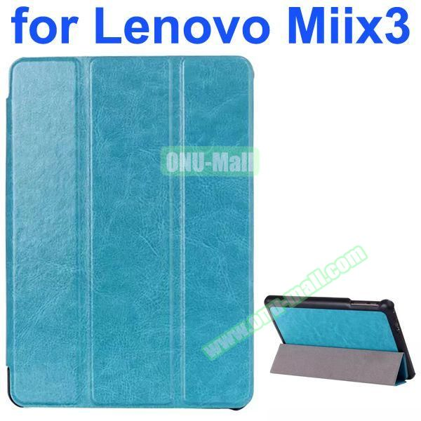 Crazy Horse Texture 3-Folding Style Leather Case for Lenovo MIIX3 with Holder (Light Blue)