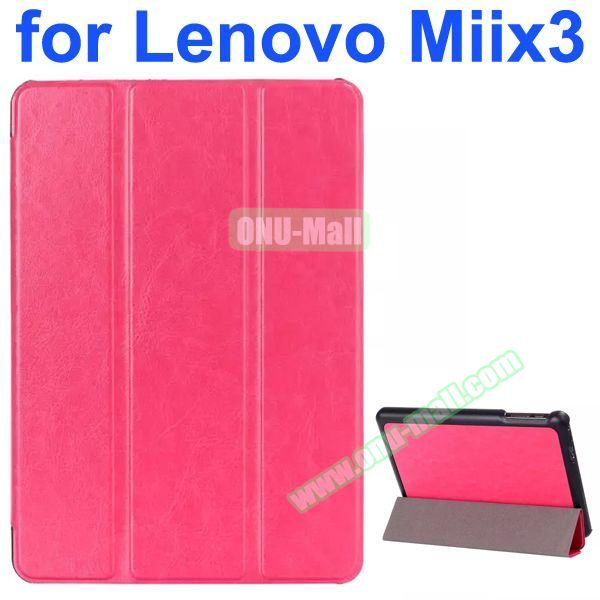 Crazy Horse Texture 3-Folding Style Leather Case for Lenovo MIIX3 with Holder (Rose)