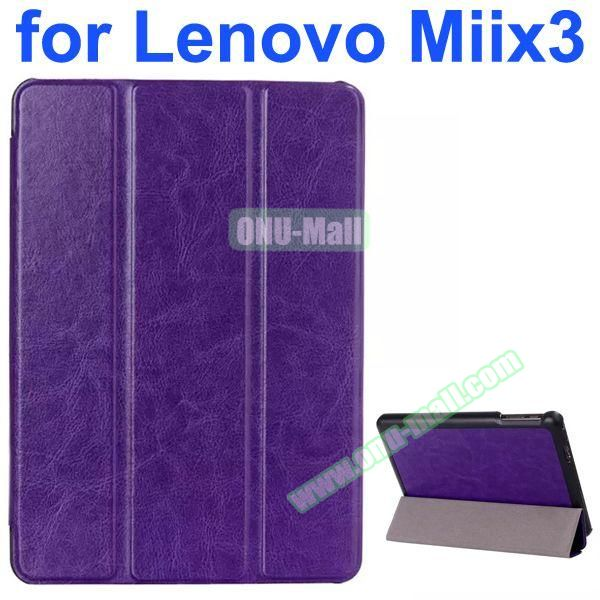 Crazy Horse Texture 3-Folding Style Leather Case for Lenovo MIIX3 with Holder (Purple)