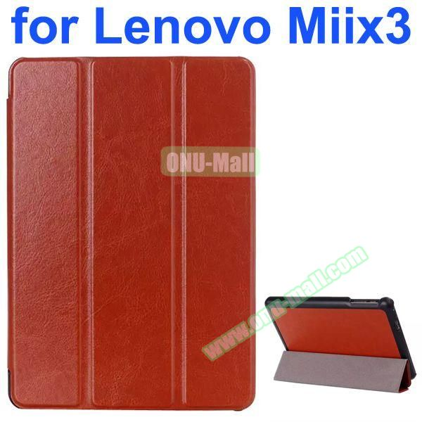 Crazy Horse Texture 3-Folding Style Leather Case for Lenovo MIIX3 with Holder (Brown)