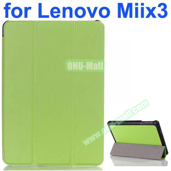 Karst Texture 3-Folding Pattern Flip Leather Case for Lenovo MIIX3 (Green)
