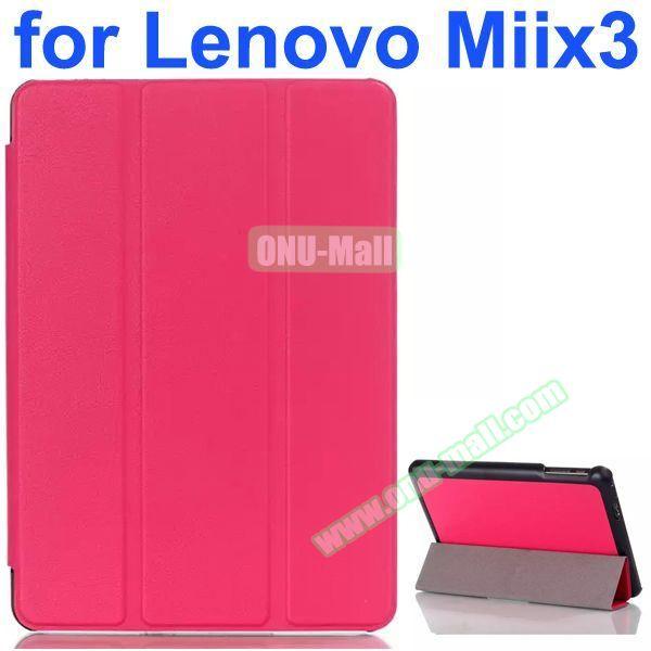 Karst Texture 3-Folding Pattern Flip Leather Case for Lenovo MIIX3 (Rose)