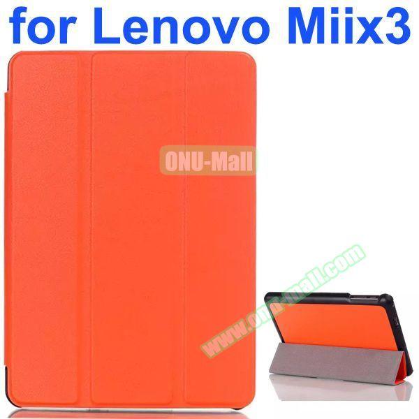 Karst Texture 3-Folding Pattern Flip Leather Case for Lenovo MIIX3 (Orange)