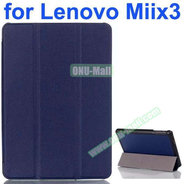 Karst Texture 3-Folding Pattern Flip Leather Case for Lenovo MIIX3 (Blue)