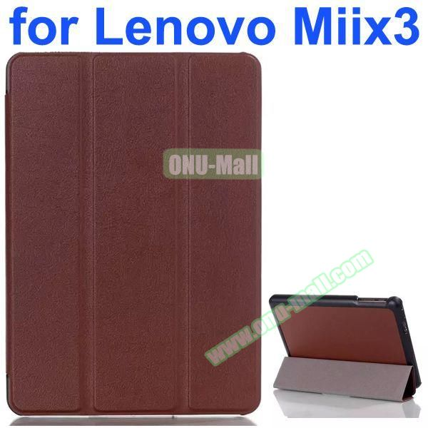Karst Texture 3-Folding Pattern Flip Leather Case for Lenovo MIIX3 (Coffee)