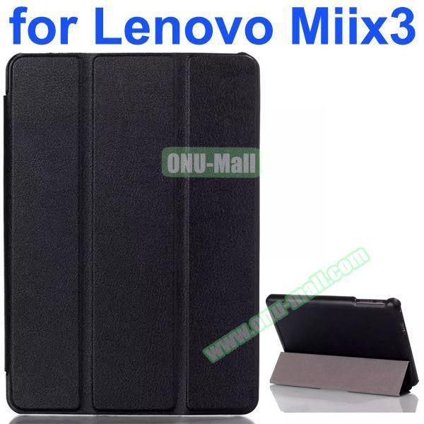 Karst Texture 3-Folding Pattern Flip Leather Case for Lenovo MIIX3 (Black)