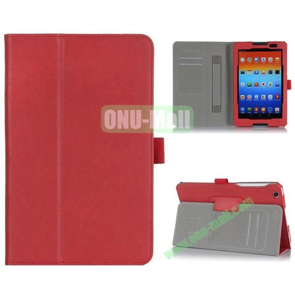 New Arrival Flip Stand PU Leather Case with Card Slots for Lenovo A8-50  A5500 (Red)