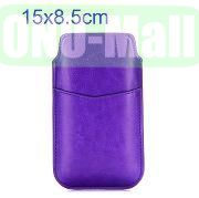 15x8.5 cm Universal Pull Tab Sleeve Pouch Soft Leather Case with Card Slot for iPhone 6, Samsung Galaxy S4  S3 etc (Purple)