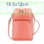 18.5x12cm Full View Window Design Magnetic Snap Universal Multifunctional PU Leather Bag with Detachable Shoulder Strap (Pink)
