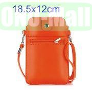 18.5x12cm Full View Window Design Magnetic Snap Universal Multifunctional PU Leather Bag with Detachable Shoulder Strap (Orange)