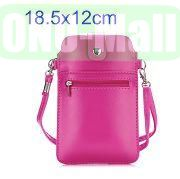 18.5x12cm Full View Window Design Magnetic Snap Universal Multifunctional PU Leather Bag with Detachable Shoulder Strap (Rose)