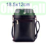 18.5x12cm Full View Window Design Magnetic Snap Universal Multifunctional PU Leather Bag with Detachable Shoulder Strap (Black)