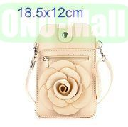 18.5x12cm Rose Flower Pattern Full View Window Design Magnetic Snap Universal Multifunctional PU Leather Bag with Detachable Shoulder Strap (Beige)
