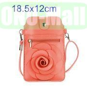 18.5x12cm Rose Flower Pattern Full View Window Design Magnetic Snap Universal Multifunctional PU Leather Bag with Detachable Shoulder Strap (Pink)