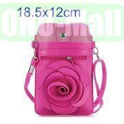 18.5x12cm Rose Flower Pattern Full View Window Design Magnetic Snap Universal Multifunctional PU Leather Bag with Detachable Shoulder Strap (Rose)