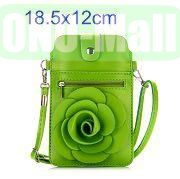 18.5x12cm Rose Flower Pattern Full View Window Design Magnetic Snap Universal Multifunctional PU Leather Bag with Detachable Shoulder Strap (Green)