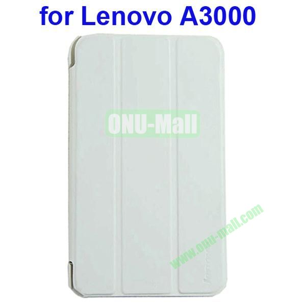 Official Design 3 Floding Leather Smart Cover for Lenovo A3000 (White)
