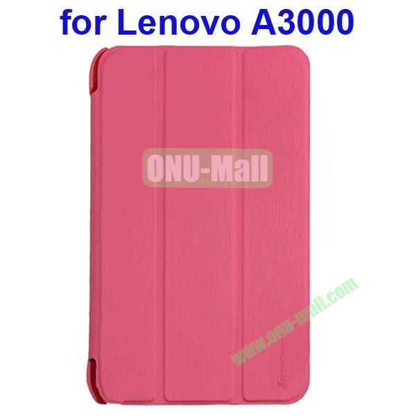 Official Design 3 Floding Leather Smart Cover for Lenovo A3000 (Pink)