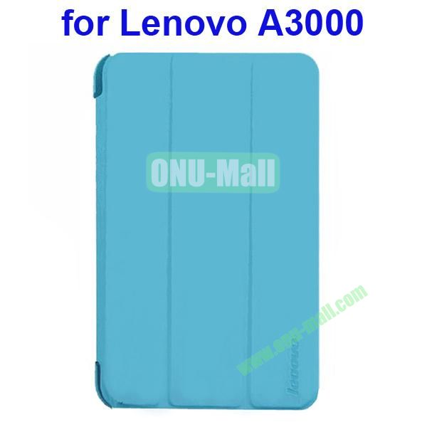 Official Design 3 Floding Leather Smart Cover for Lenovo A3000 (Blue)