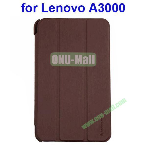 Official Design 3 Floding Leather Smart Cover for Lenovo A3000 (Brown)