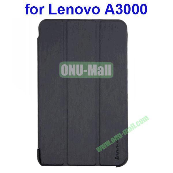 Official Design 3 Floding Leather Smart Cover for Lenovo A3000 (Black)