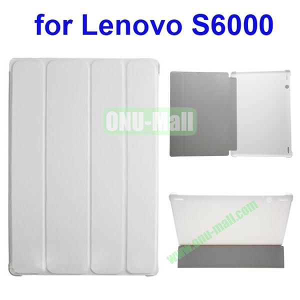 Official Style 4 Floding Leather Smart Cover for Lenovo S6000 (White)