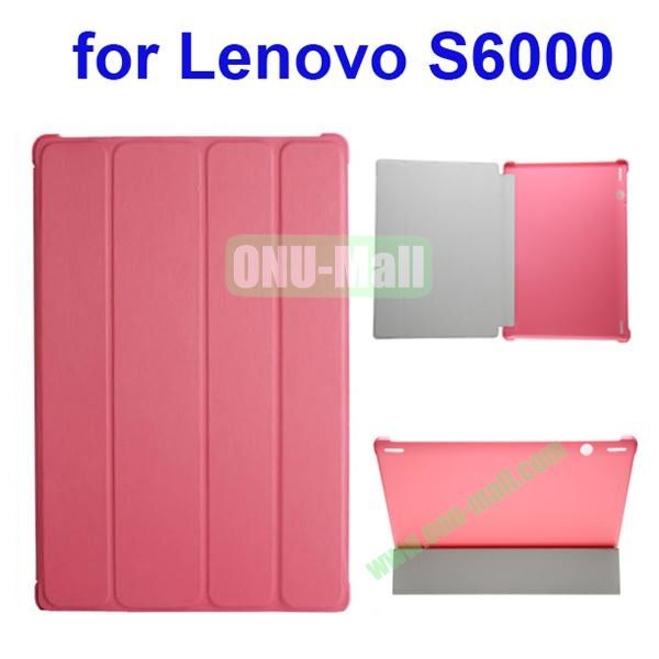 Official Style 4 Floding Leather Smart Cover for Lenovo S6000 (Pink)