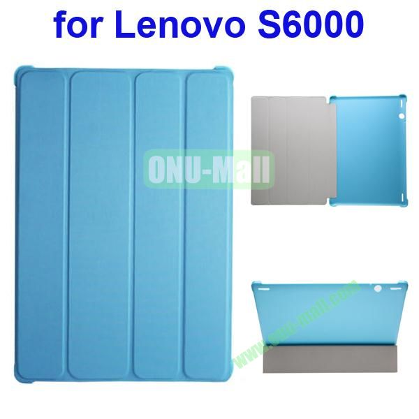 Official Style 4 Floding Leather Smart Cover for Lenovo S6000 (Blue)