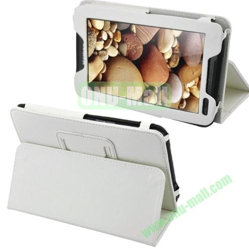 Litchi Pattern Leather Case for Lenovo A1000 with Holder (White)
